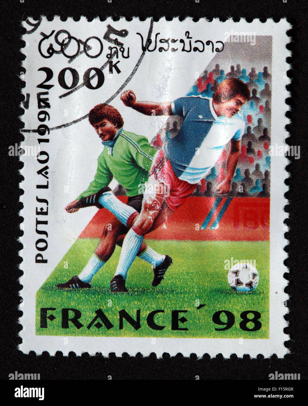 Postes Lao Laos 200K France 1998 98 football deportes world Cup worldcup sport Stamp - Stock Image