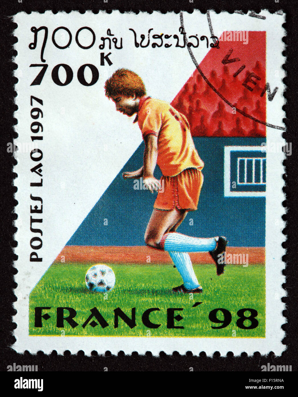 Postes Lao Laos 700K France 1998 98 football deportes world Cup worldcup sport stamp - Stock Image