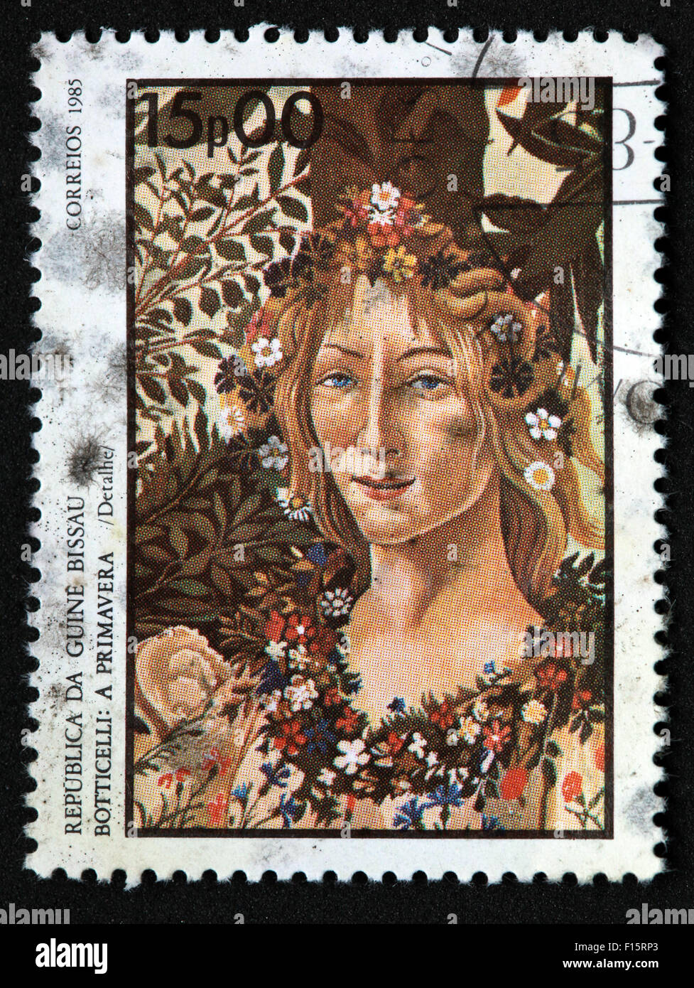 Republica Da Guine Bissau Botticelli a Primavera Spring in Correios 1985 15p00 girl woman flowers in hair stamp - Stock Image