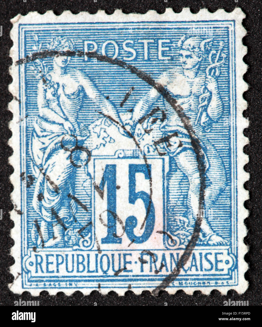 Republique Francaise 15c Stamp Stock Photo