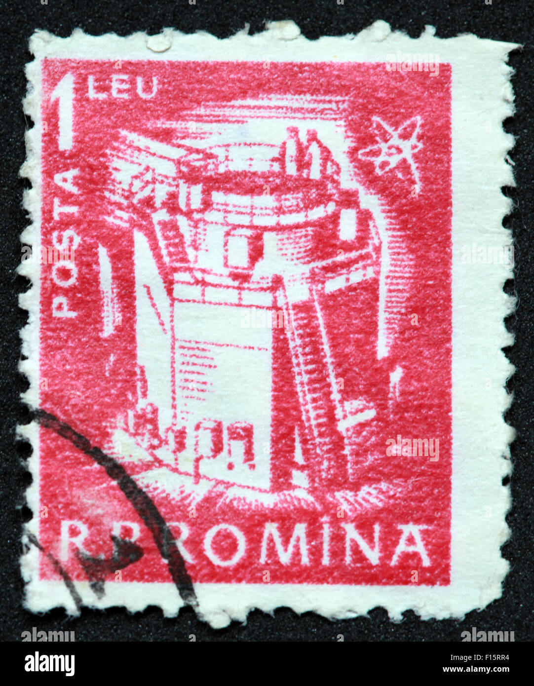 RP Romina 1leu Posta red stamp Stock Photo