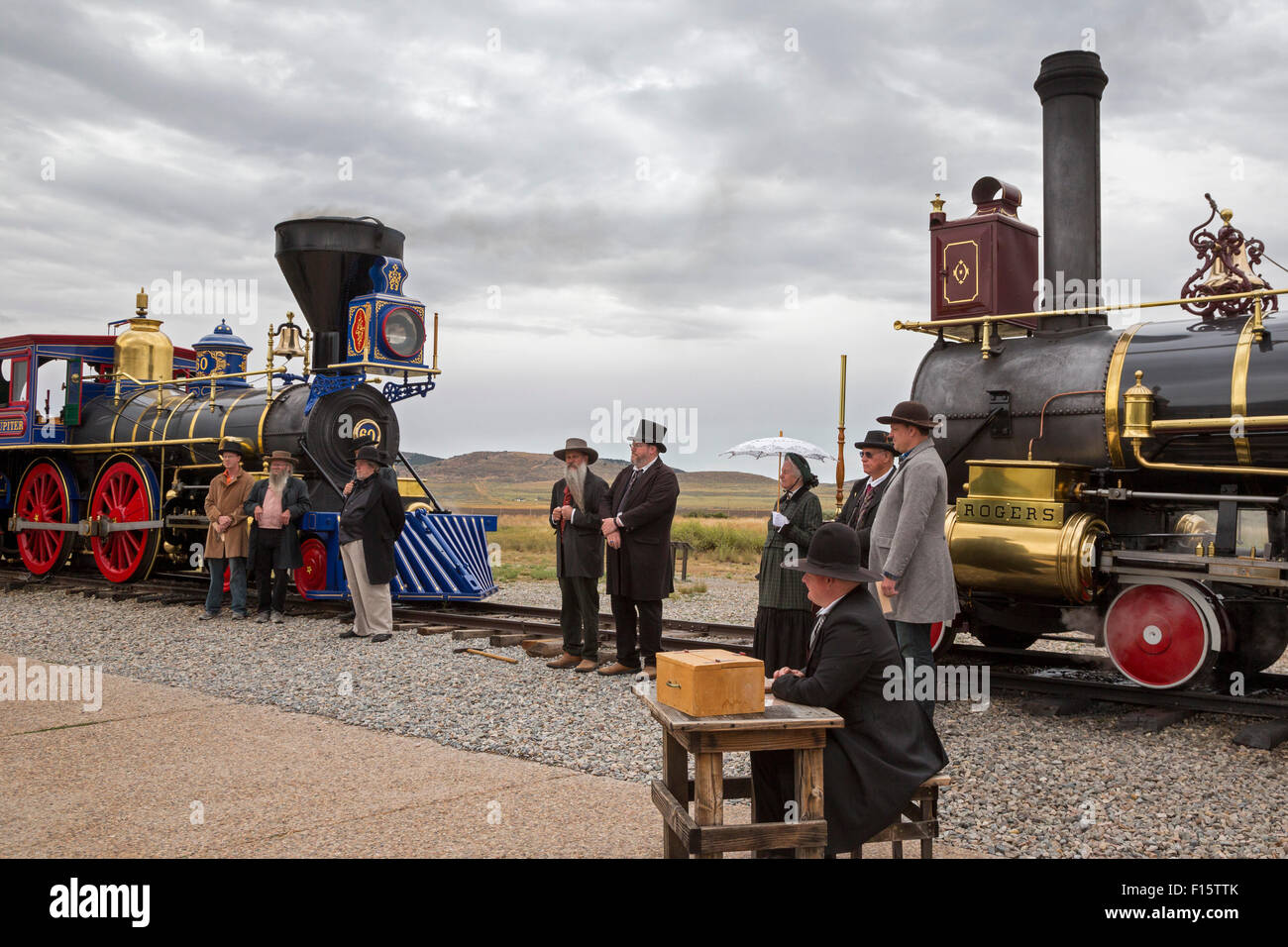 Promontory Summit, Utah - Golden Spike National Historic Site, where the first transcontinental railroad was completed - Stock Image