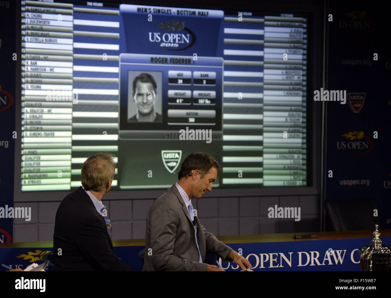 New York, USA. 27th Aug, 2015. The U.S. Open draw list is seen during the U.S. Open Tennis draw ceremony in New - Stock Image
