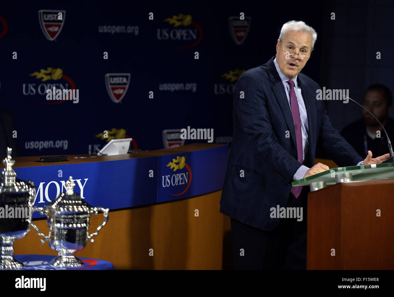 New York, USA. 27th Aug, 2015. US Open Tournament Director David Brewer attends the U.S. Open Tennis draw ceremony - Stock Image