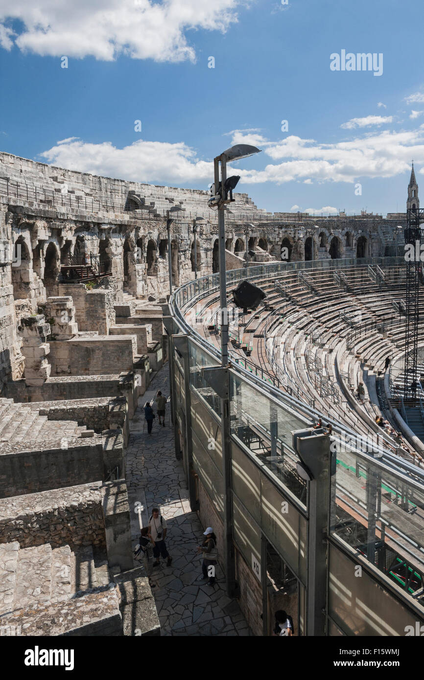 Amphitheatre in Nimes, France from Roman times - Stock Image