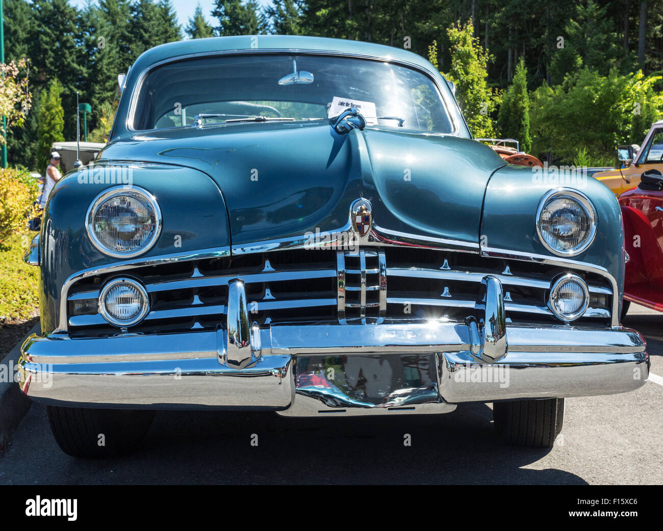 Front view of a green 1949 Lincoln Cosmopolitan at a classic car ...