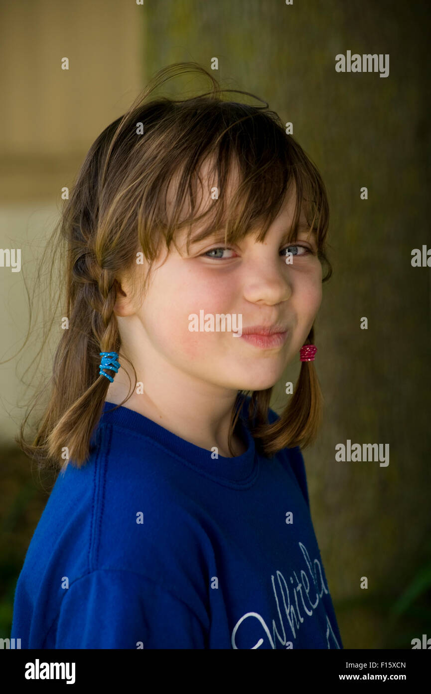 6-7 year old caucasian girl - Stock Image