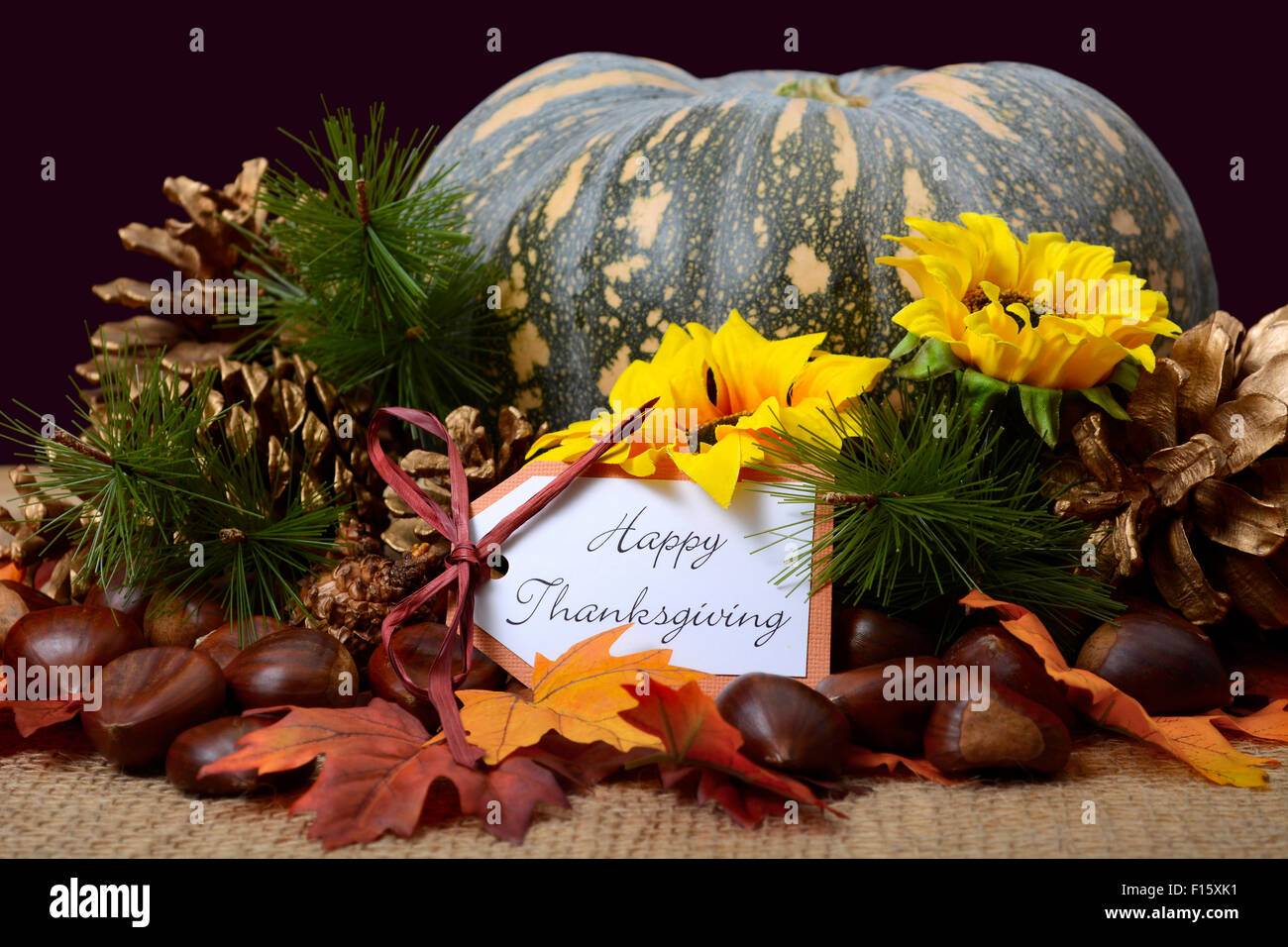 Happy Thanksgiving Pumpkin In Rustic Setting On Burlap Covered Table With Greeting Message