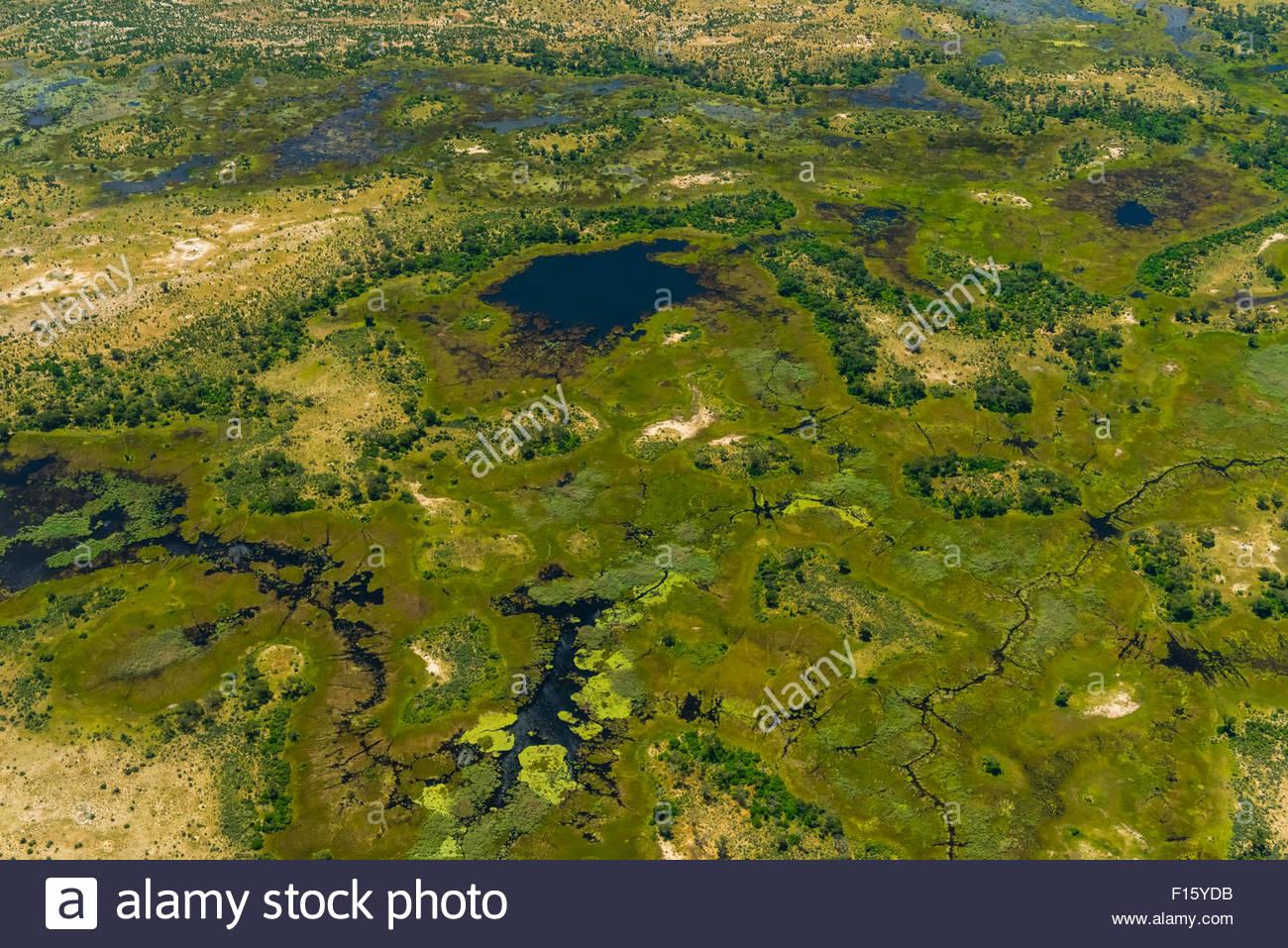 Aerial views on flight from Okavango Delta to Maun, Botswana. - Stock Image