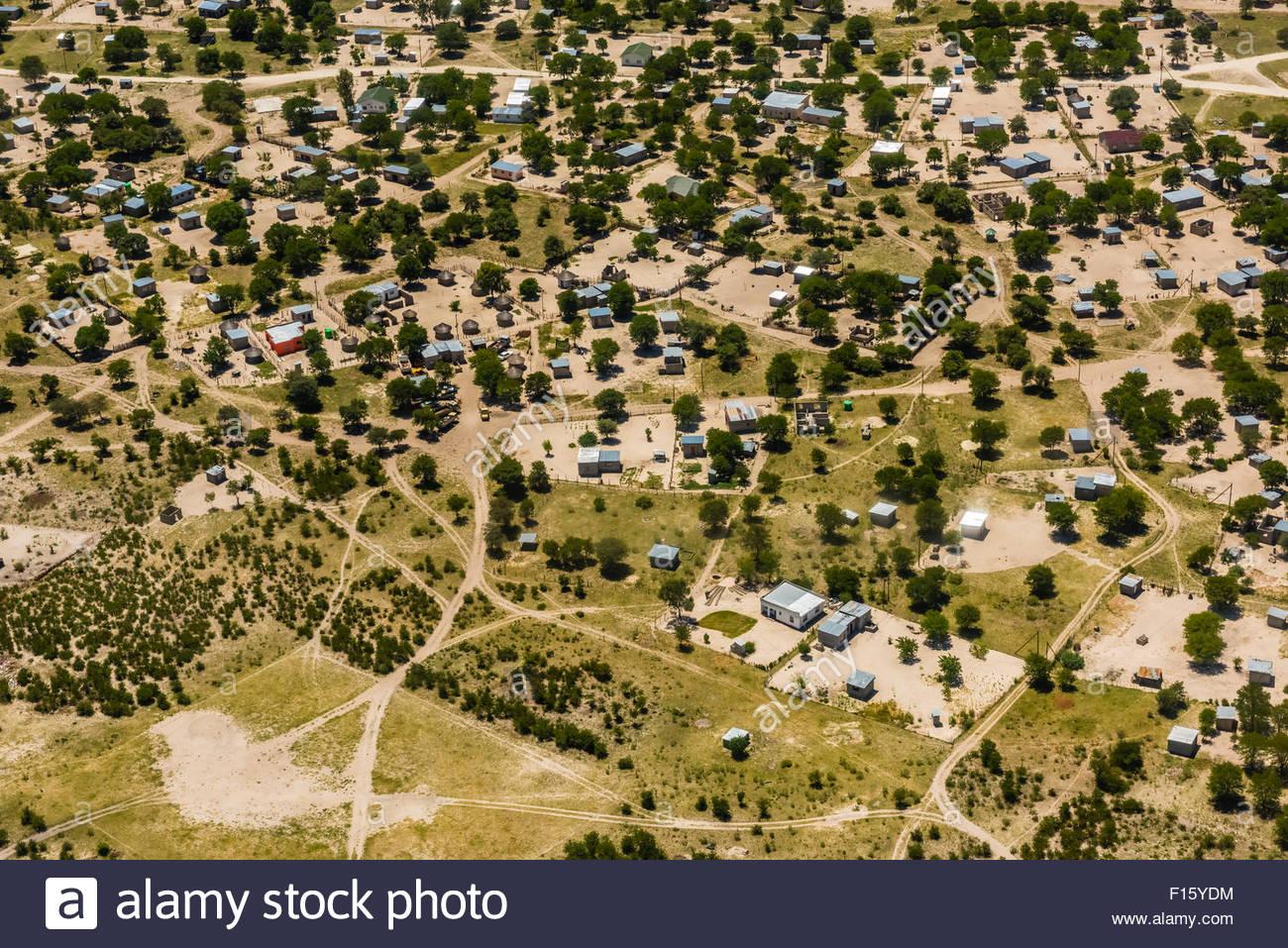 Aerial view, Maun, Botswana. - Stock Image