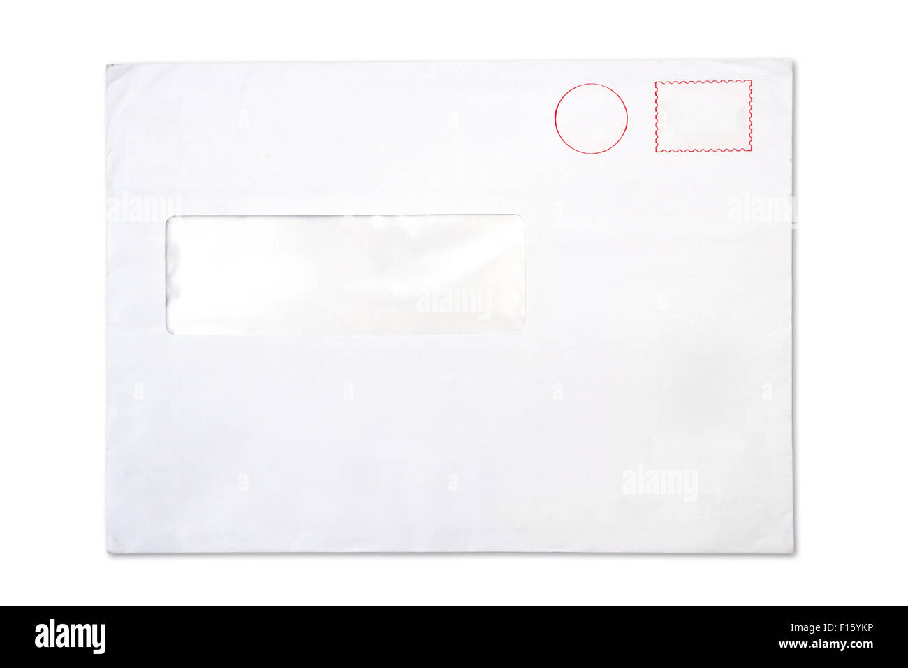 empty blank Envelope with a window, isolated on white - Stock Image