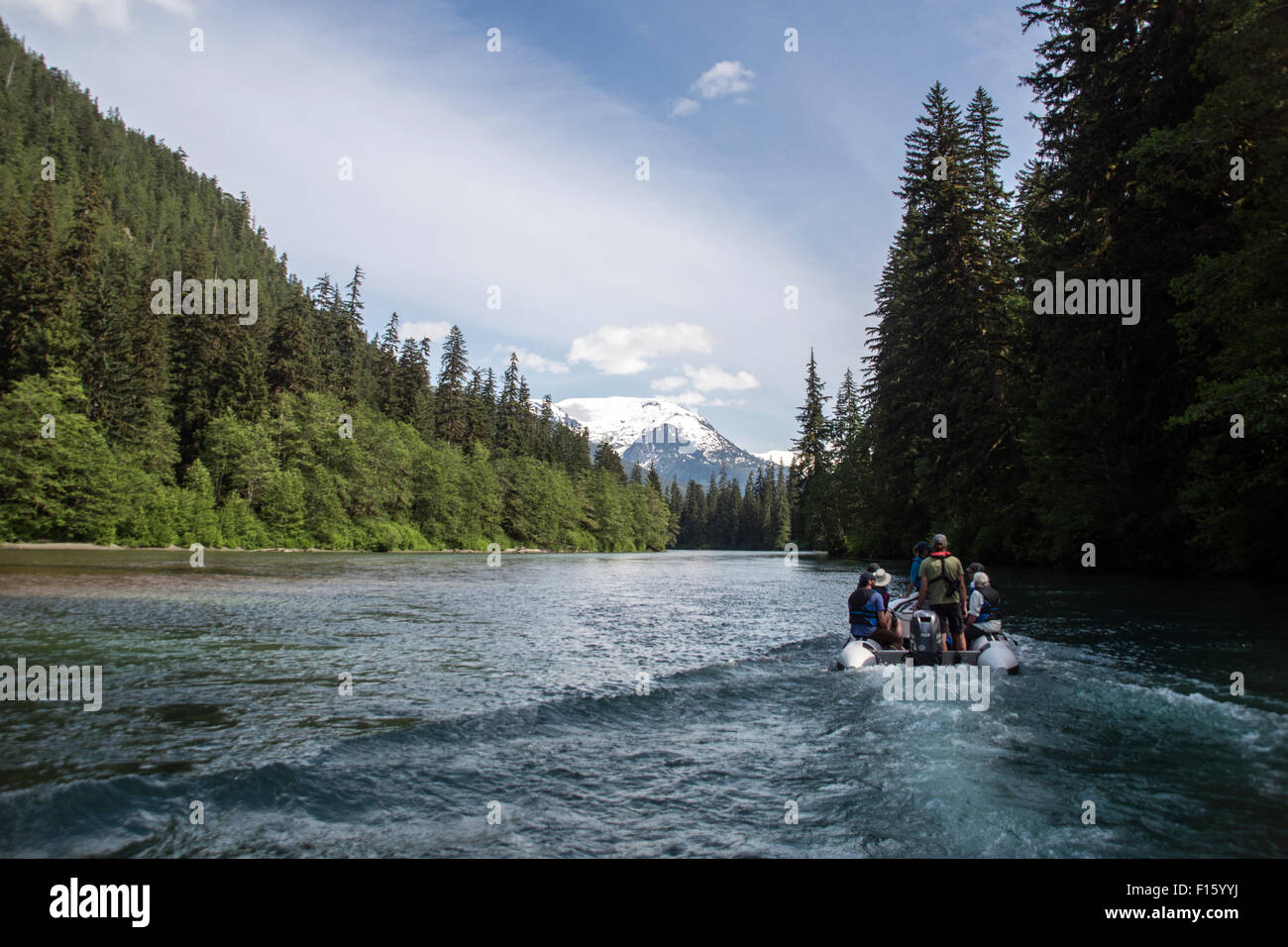 A wilderness guide and tourists travel up a remote river by zodiac in the Great Bear Rainforest of British Columbia, - Stock Image