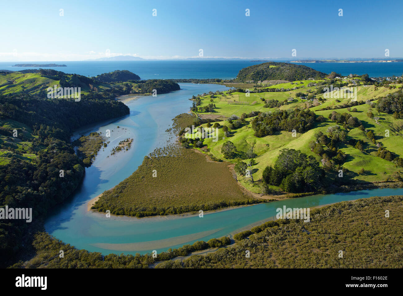 Puhoi River, North Auckland, North Island, New Zealand - aerial - Stock Image
