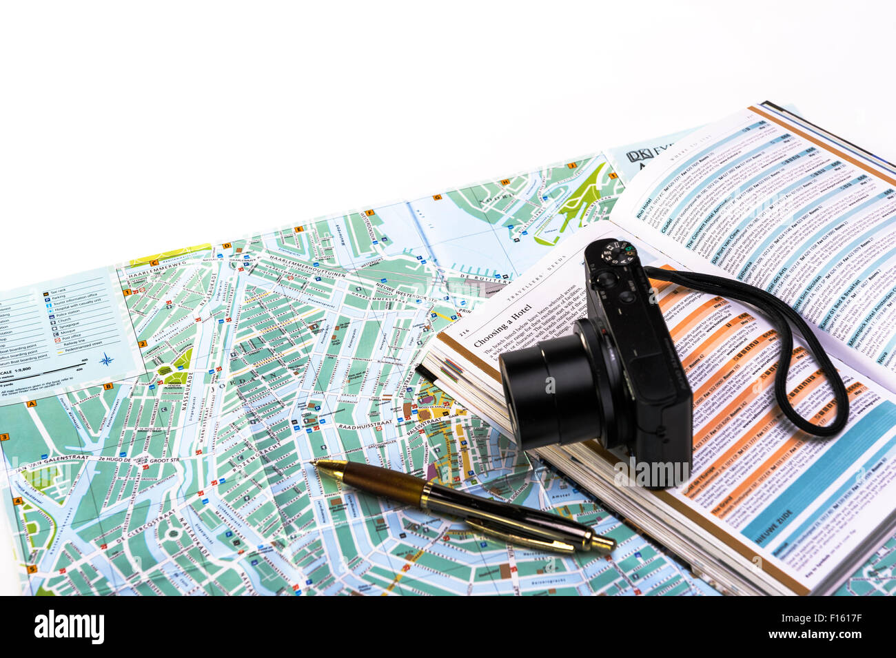 Planning a touring holiday around Europe.Vacation planning. - Stock Image