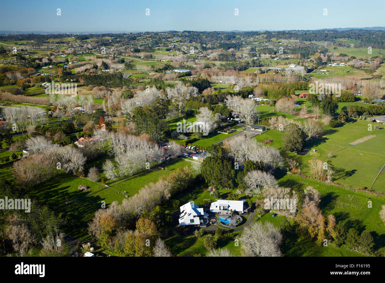 Lifestyle properties, Postman Road, Dairy Flat, North Auckland, North Island, New Zealand - aerial - Stock Image
