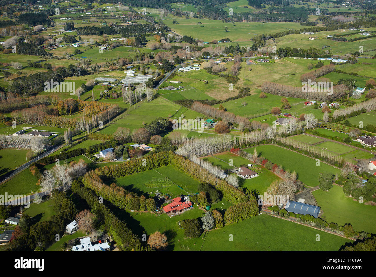 Lifestyle properties, Dairy Flat, North Auckland, North Island, New Zealand - aerial - Stock Image