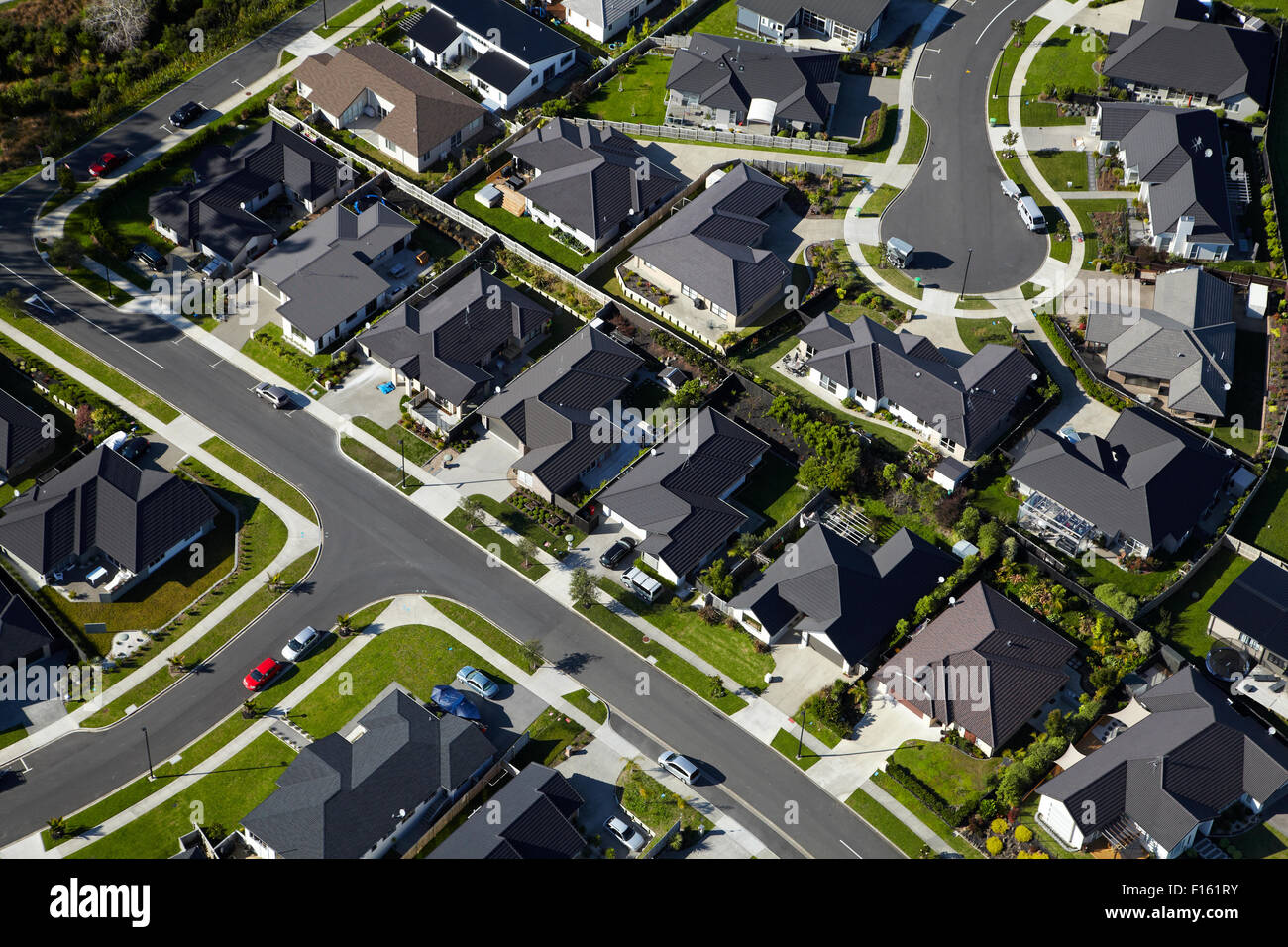 New housing development, Silverdale, North Auckland, North Island, New Zealand - aerial - Stock Image