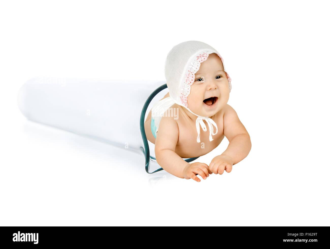 happy test-tube baby on white background, isolated,  horizontal photo - Stock Image