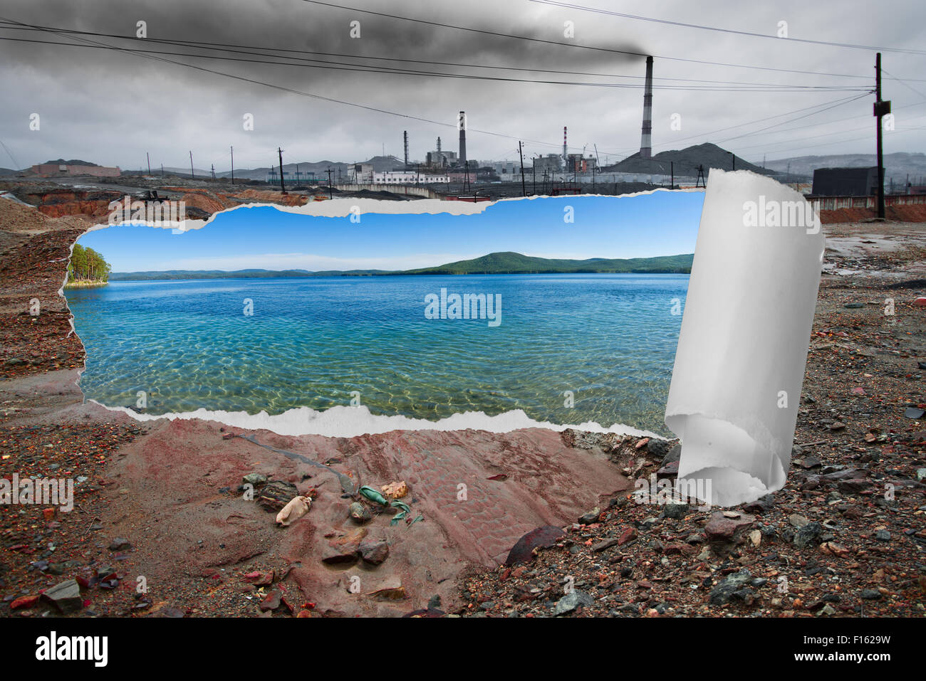 landscape pollution of the environment emission of  industrial plant, Karabash city;  Russia - Stock Image