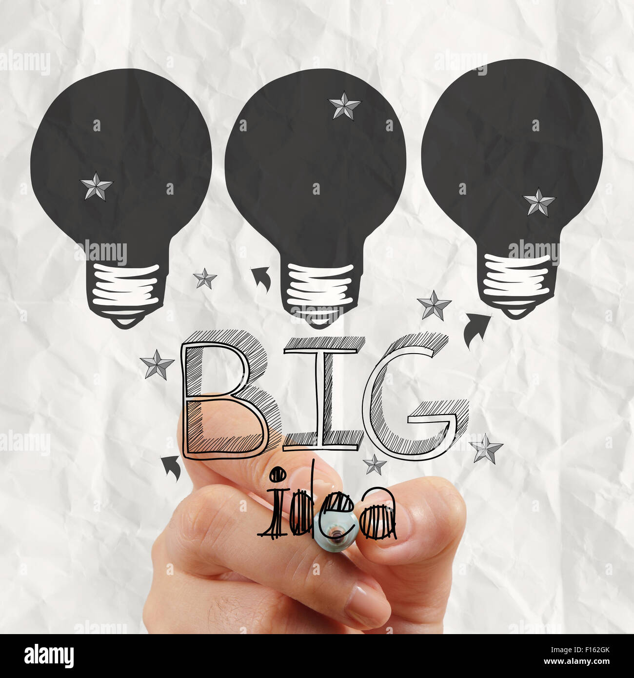 close up of hand drawing the big idea diagram as concept - Stock Image