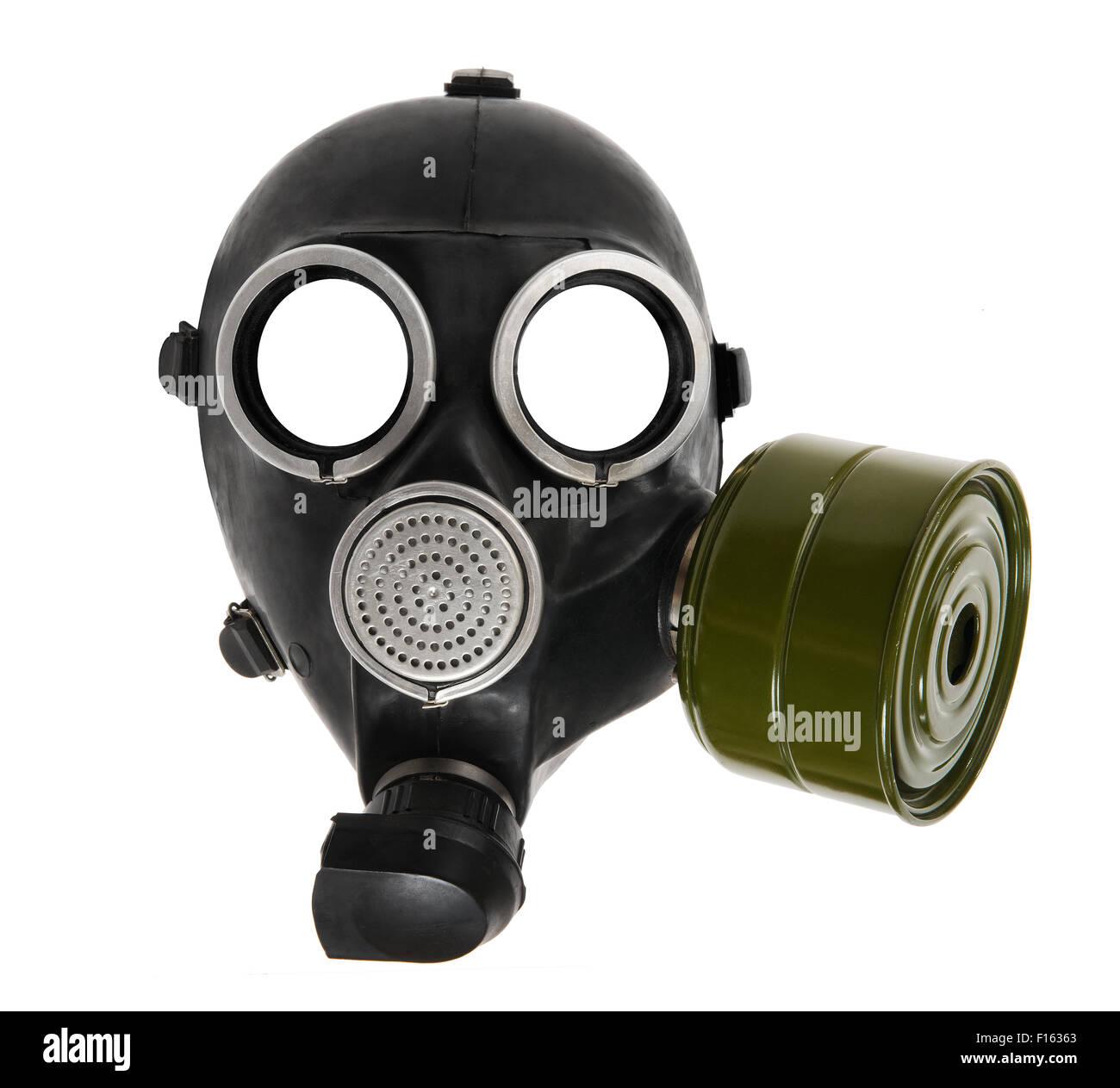 the black gas-mask close up, on white background; isolated - Stock Image