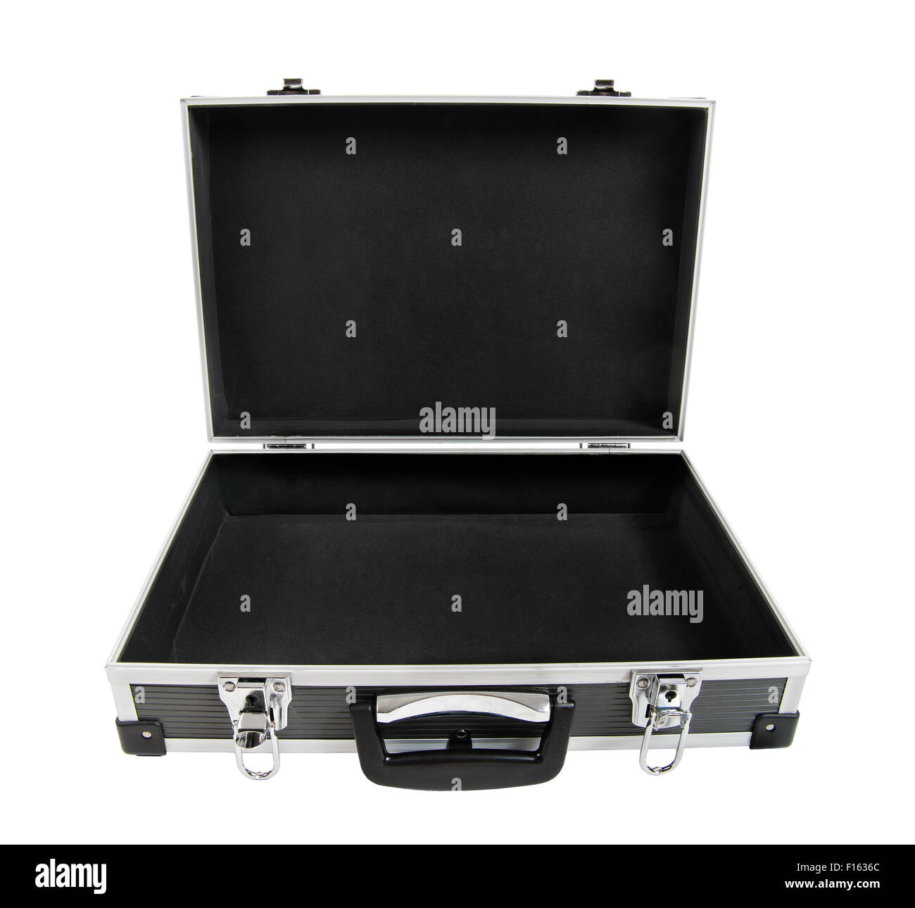 armored black case for money, on white background; isolated - Stock Image