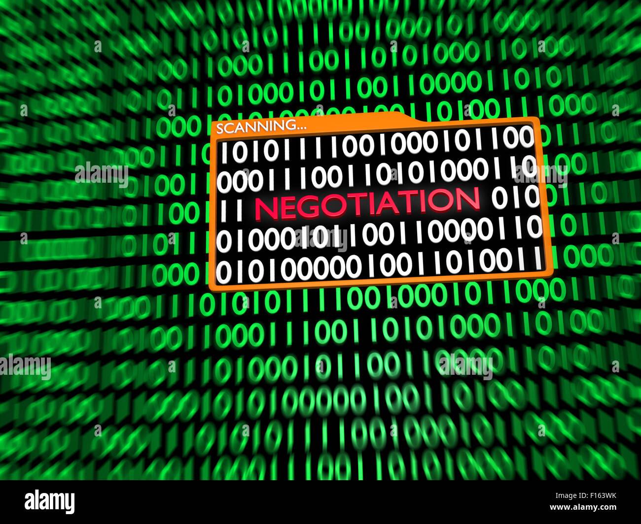 Scanning Hidden Digital Negotiation into Binary Digits - Stock Image