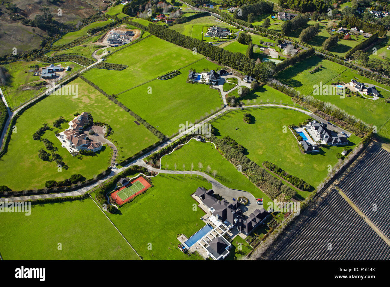 Lifestyle properties near Coatesville, North Auckland, North Island, New Zealand -aerial - Stock Image