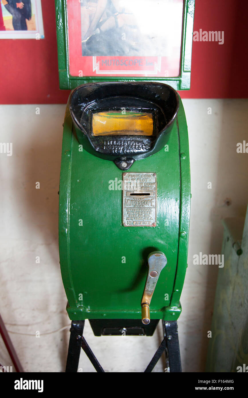 A mutoscope at a vintage slot machine arcade in Brighton, UK - Stock Image