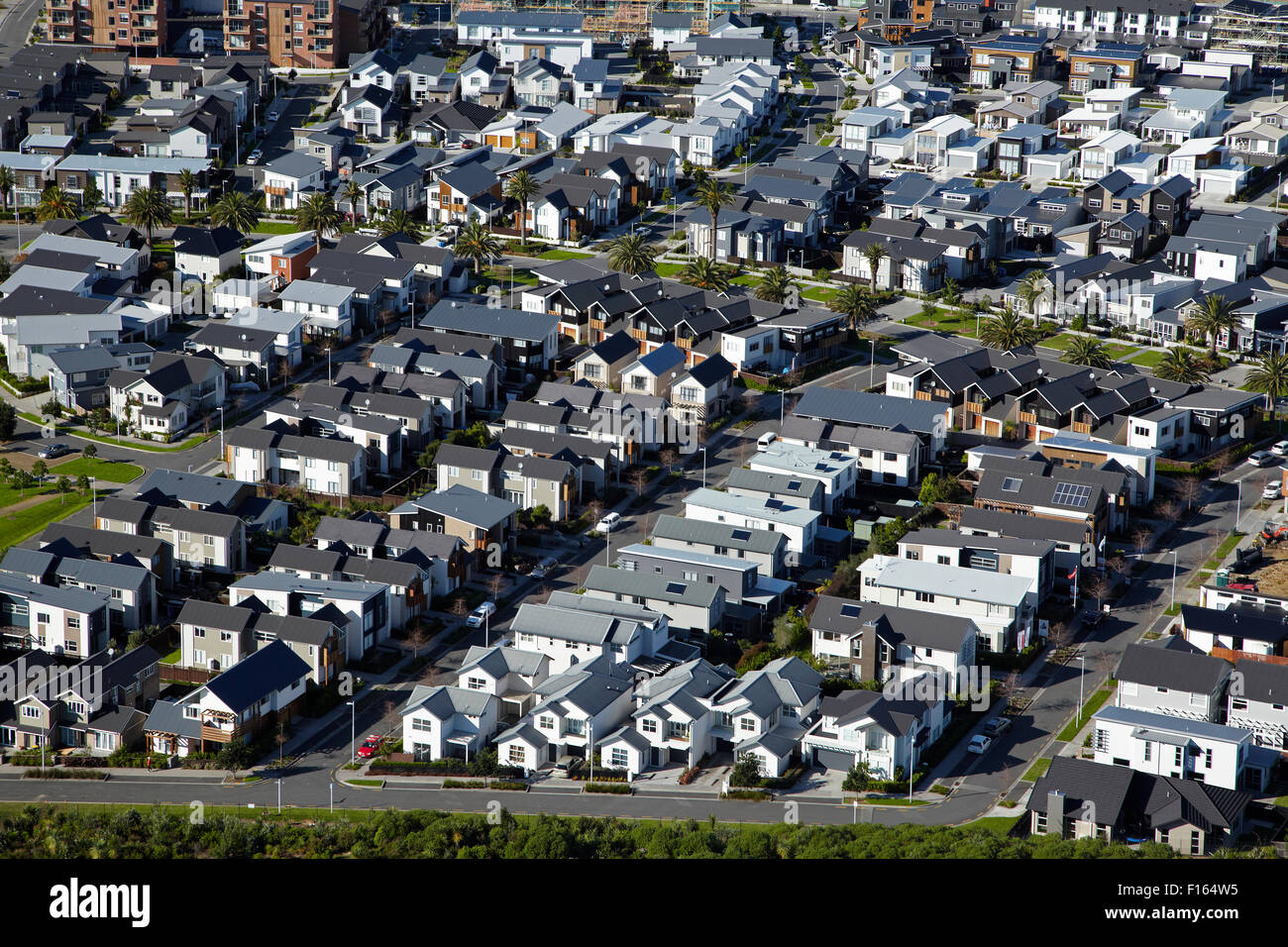 New housing development, Hobsonville, Auckland, North Island, New Zealand - aerial Stock Photo