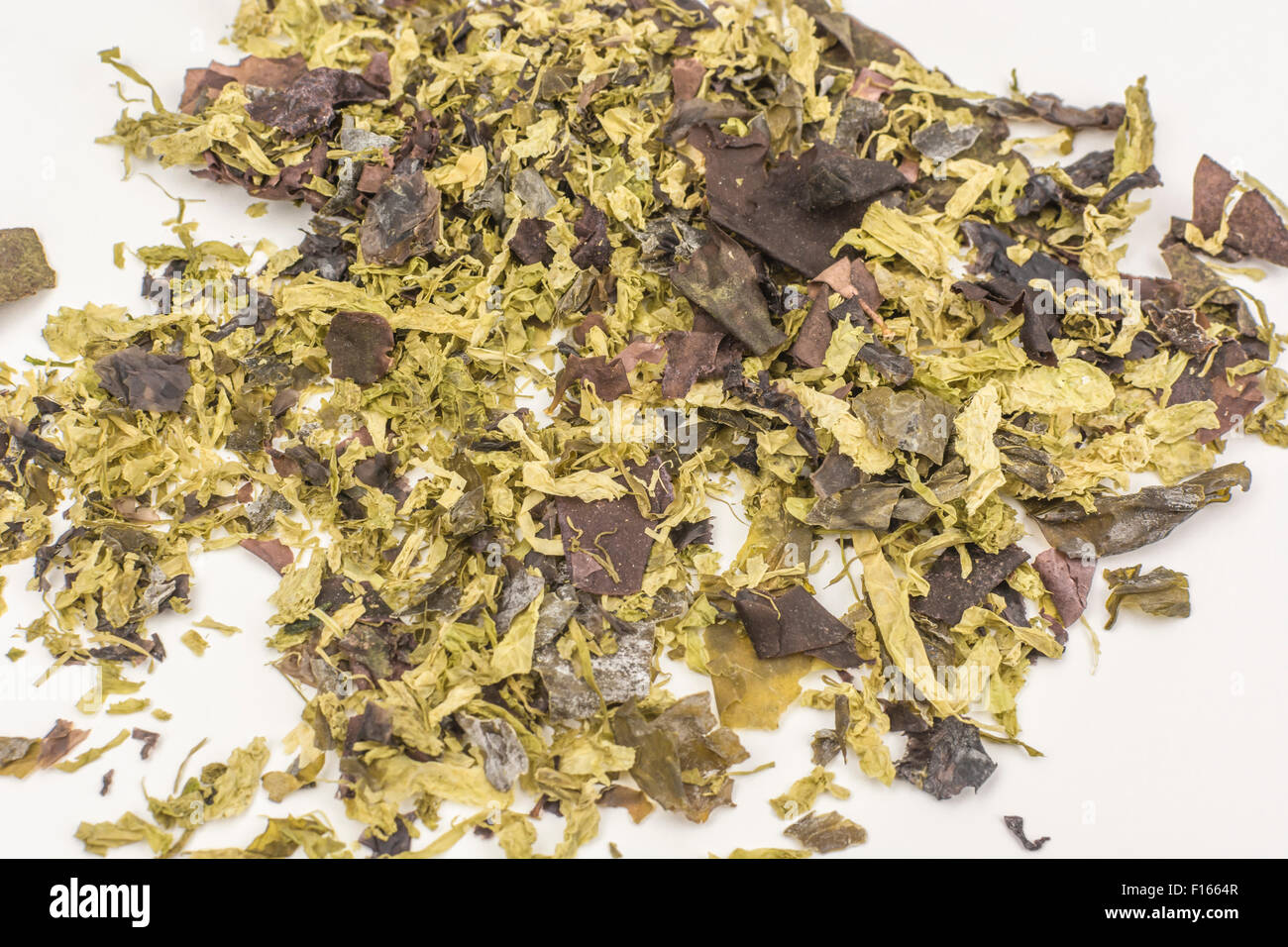 Close shot of a variety of dried seaweeds - for human consumption. - Stock Image