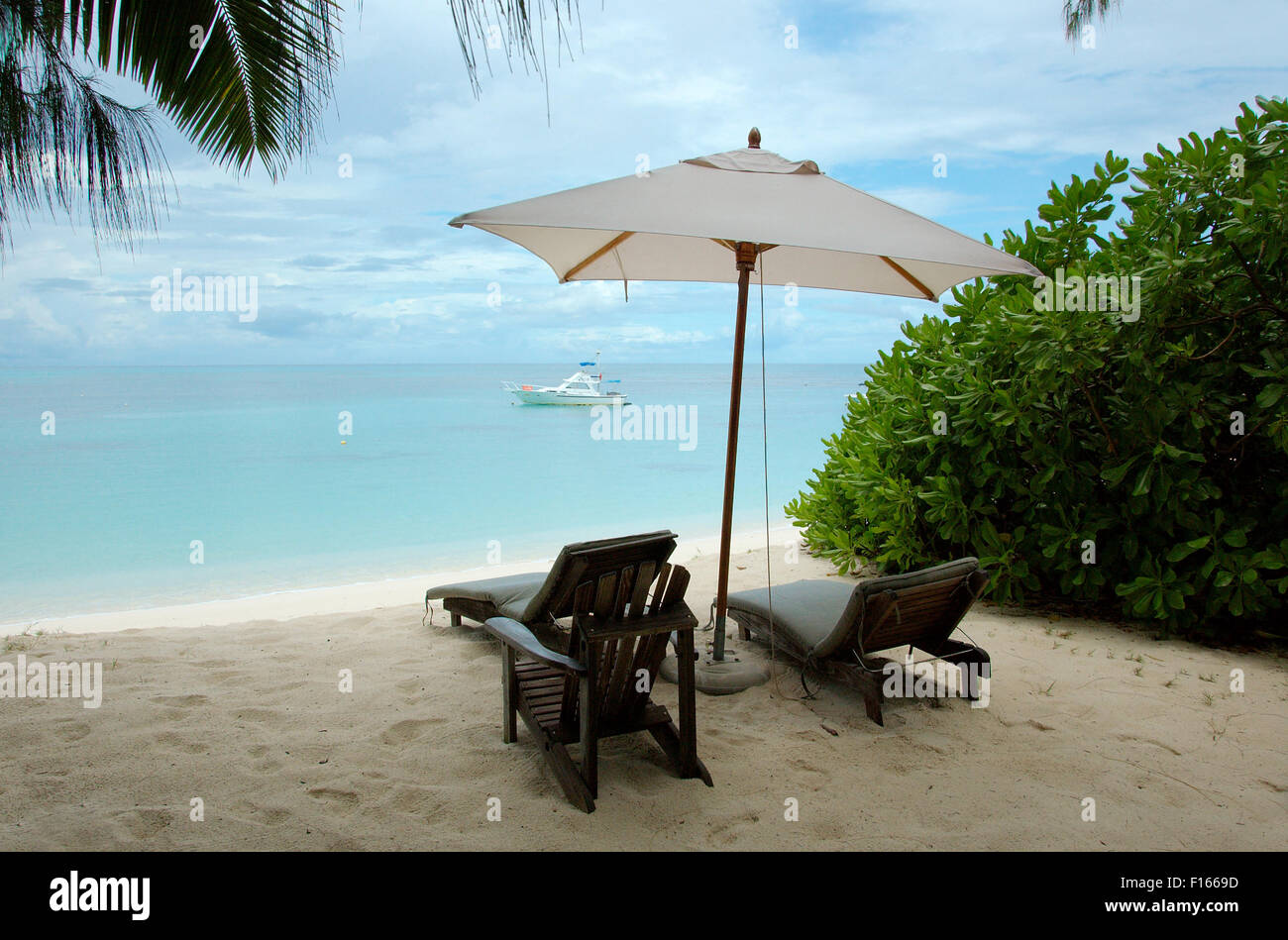 Oct. 15, 2014 - Seychelles - chairs are under the trees on the sandy shores of the Indian Ocean, Denis island, Seychelles Stock Photo