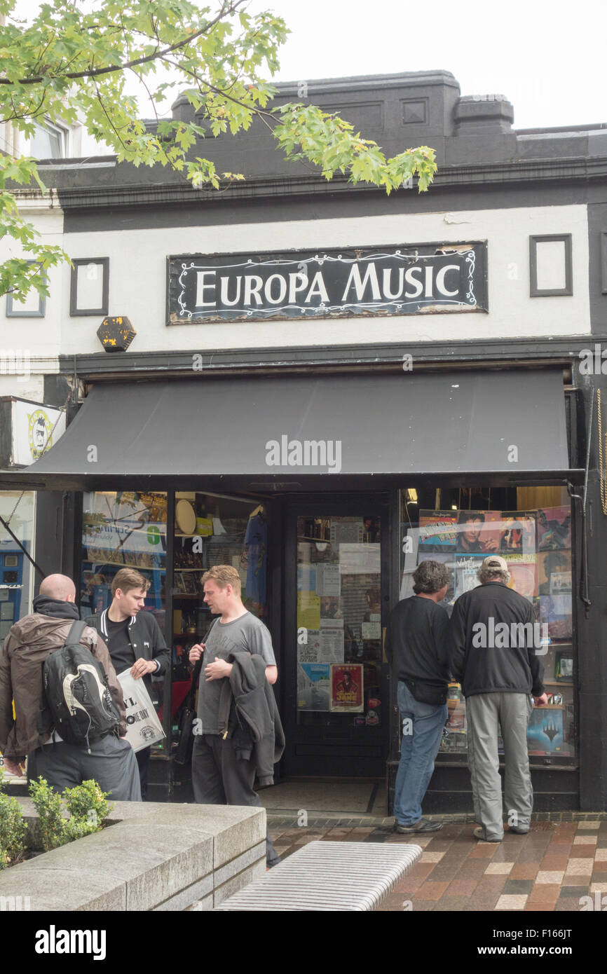 Europa Music record shop - the largest record and vinyl shop in Scotland - Stirling, Scotland, UK - Stock Image