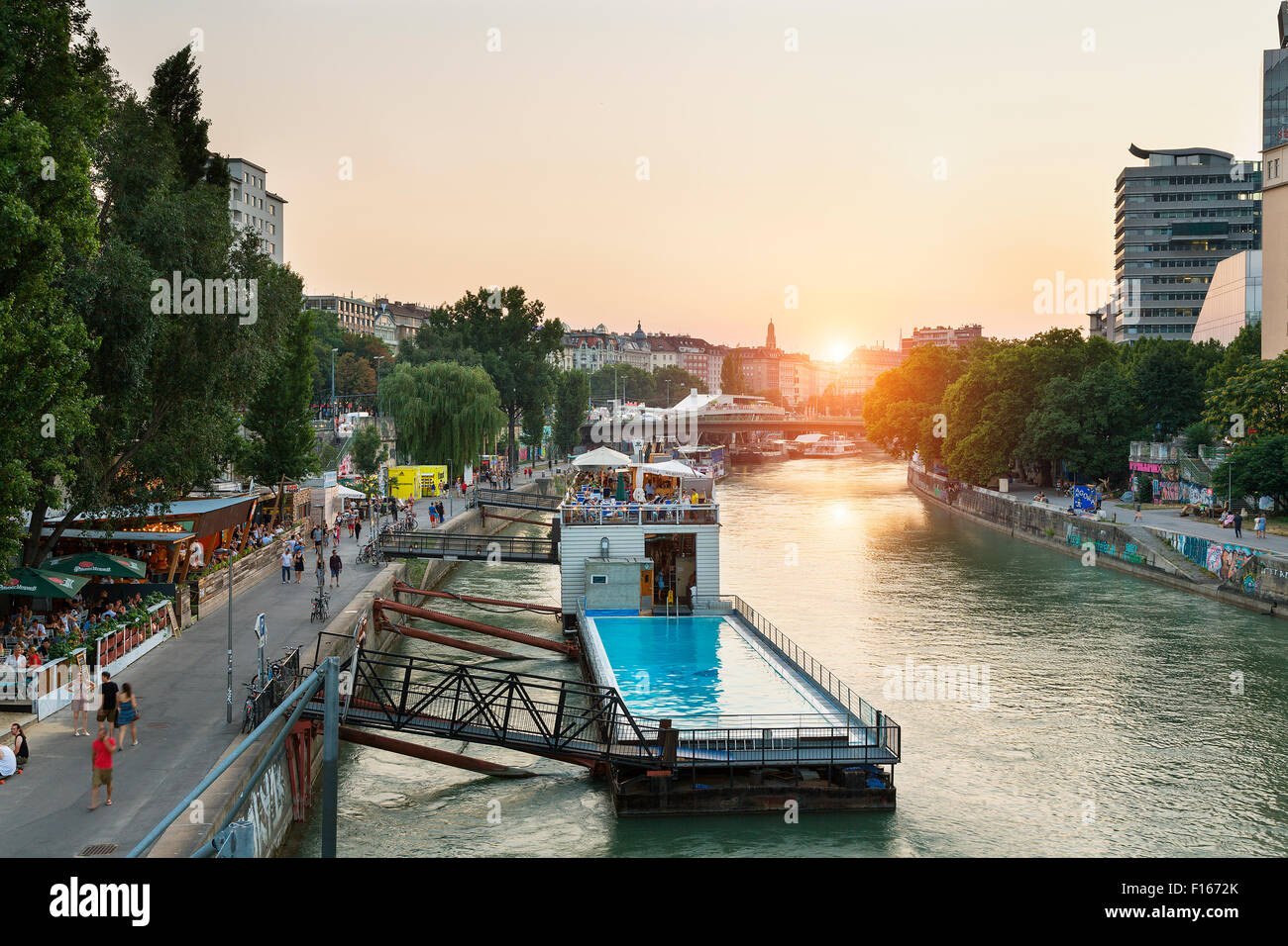 Vienna, Badeschiff (bathing ship), floating public swimming pool on Danube River. Stock Photo