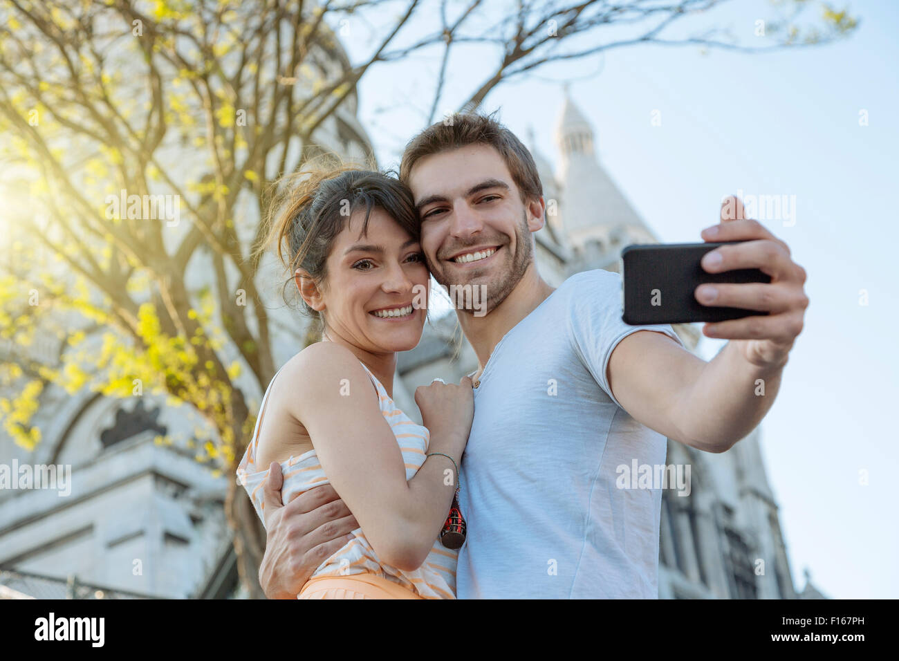 Paris, Couple dating in Montmartre Stock Photo
