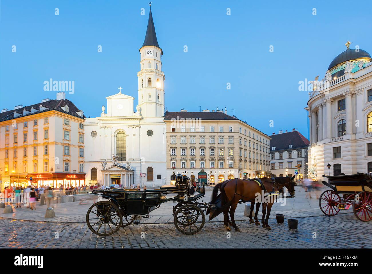 Horse carriage, Josefsplatz, Vienna, Austria - Stock Image