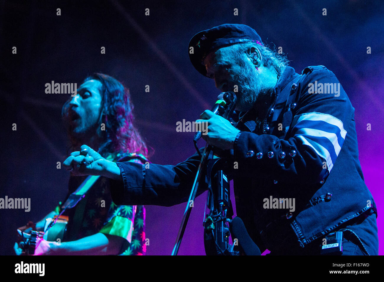 Milan Italy. 27th August 2015. The American gypsy-punk band GOGOL BORDELLO performs live at Mercati Generali during - Stock Image