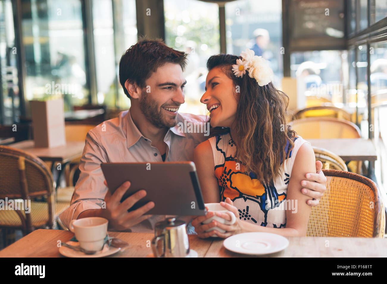 Paris, Couple dating in Cafe - Stock Image