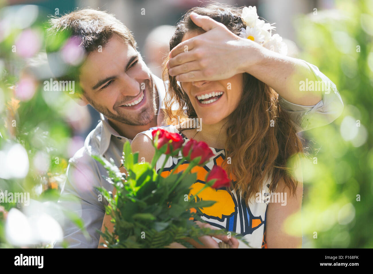 Couple dating in Paris Stock Photo