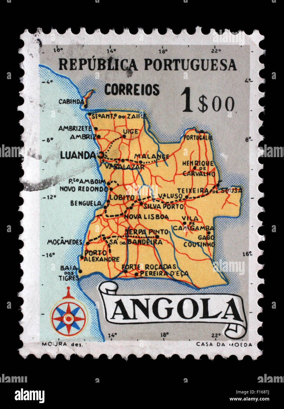 Stamp printed in Angola shows a map of Angola, circa 1955 - Stock Image
