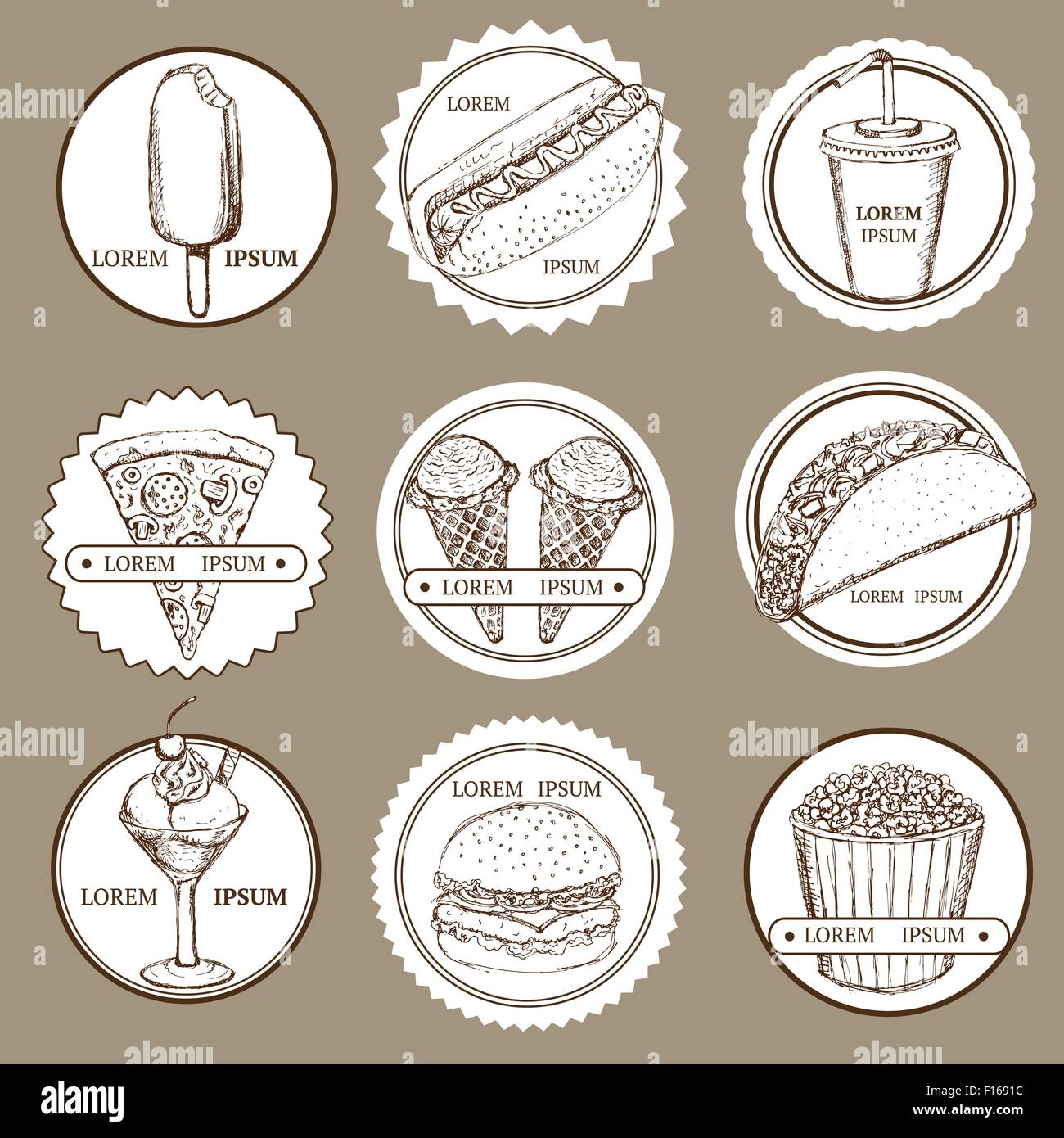 Sketch set of fast food and ice cream logotypes in vintage style, vector - Stock Image