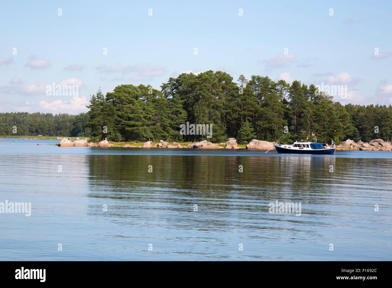Pleasure boating in Finland. - Stock Image