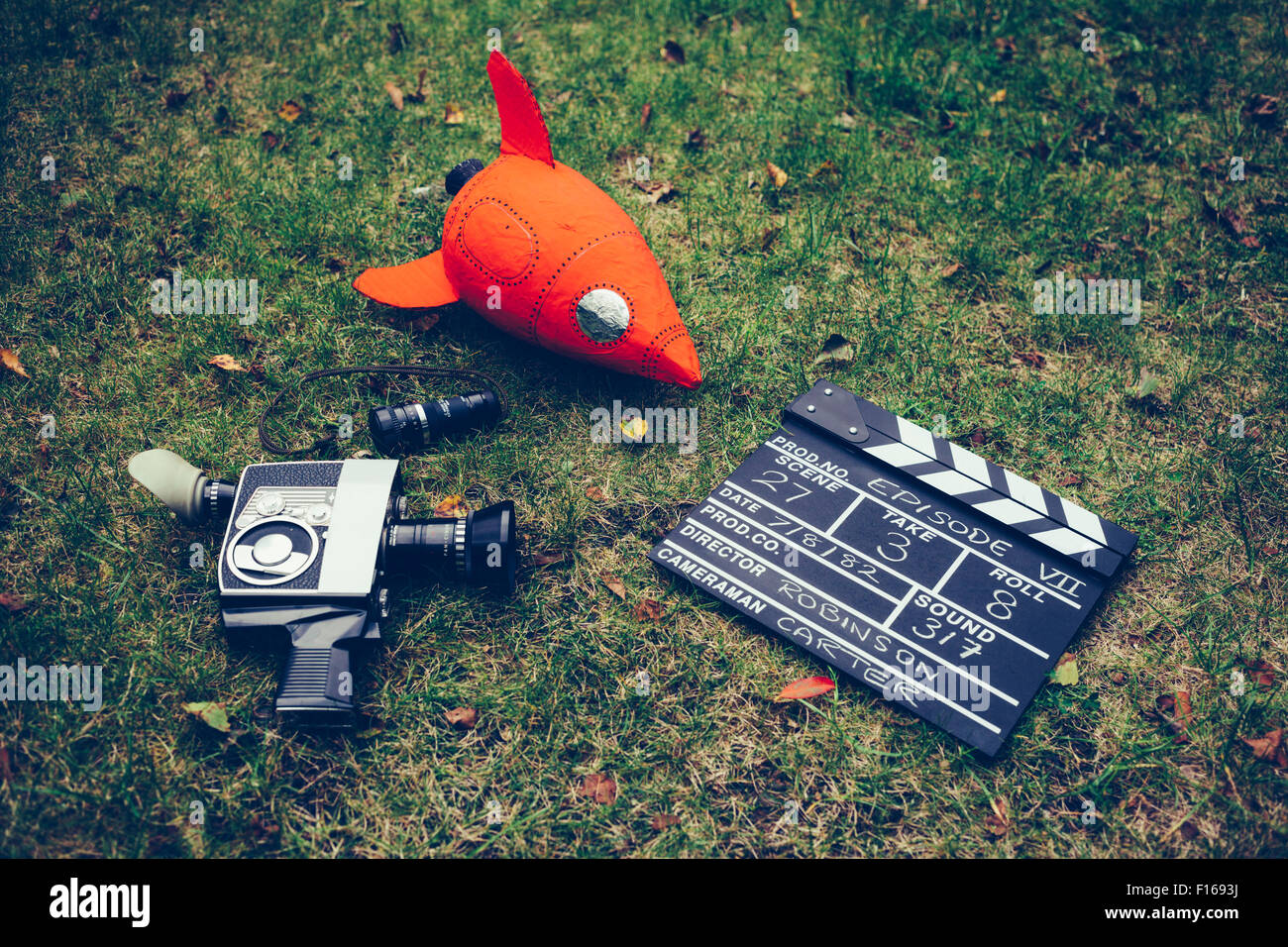 Retro Film Making -  Cine Camera, Clapper Board and Rocket - Stock Image
