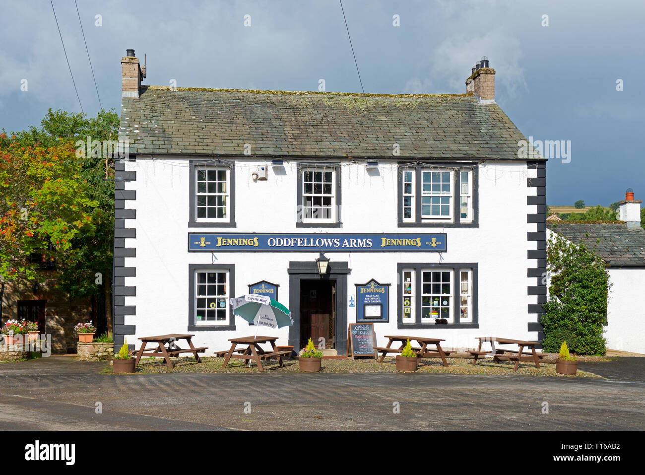 Village pub, the Oddfelows Arms, in Caldbeck, Lake District National Park, Cumbria, England UK - Stock Image