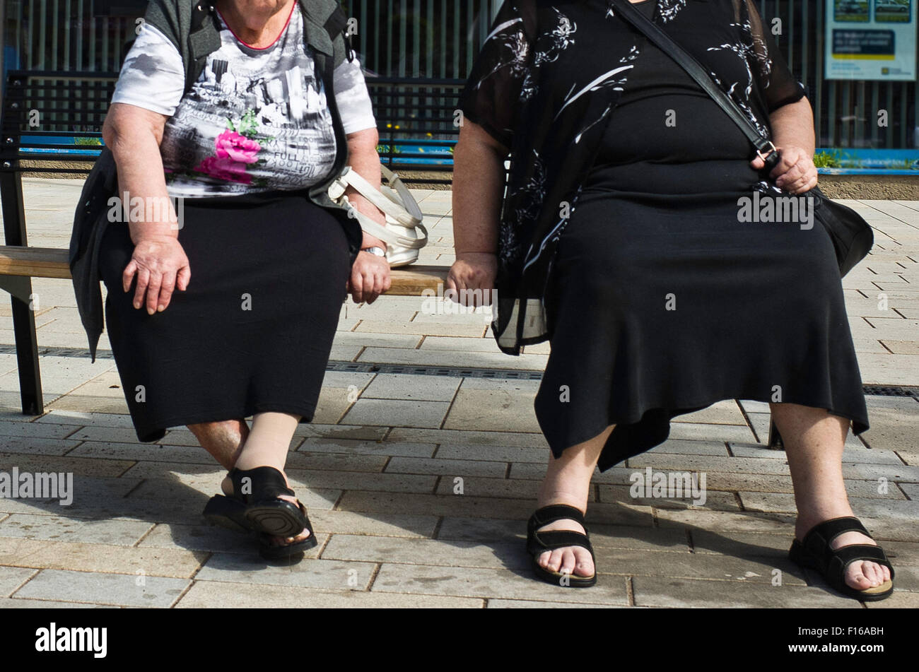 two overweight women sitting on a bench - Stock Image