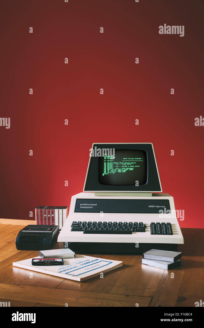 Vintage 1970's Personal Computer with Cassette Deck & Tape. - Stock Image