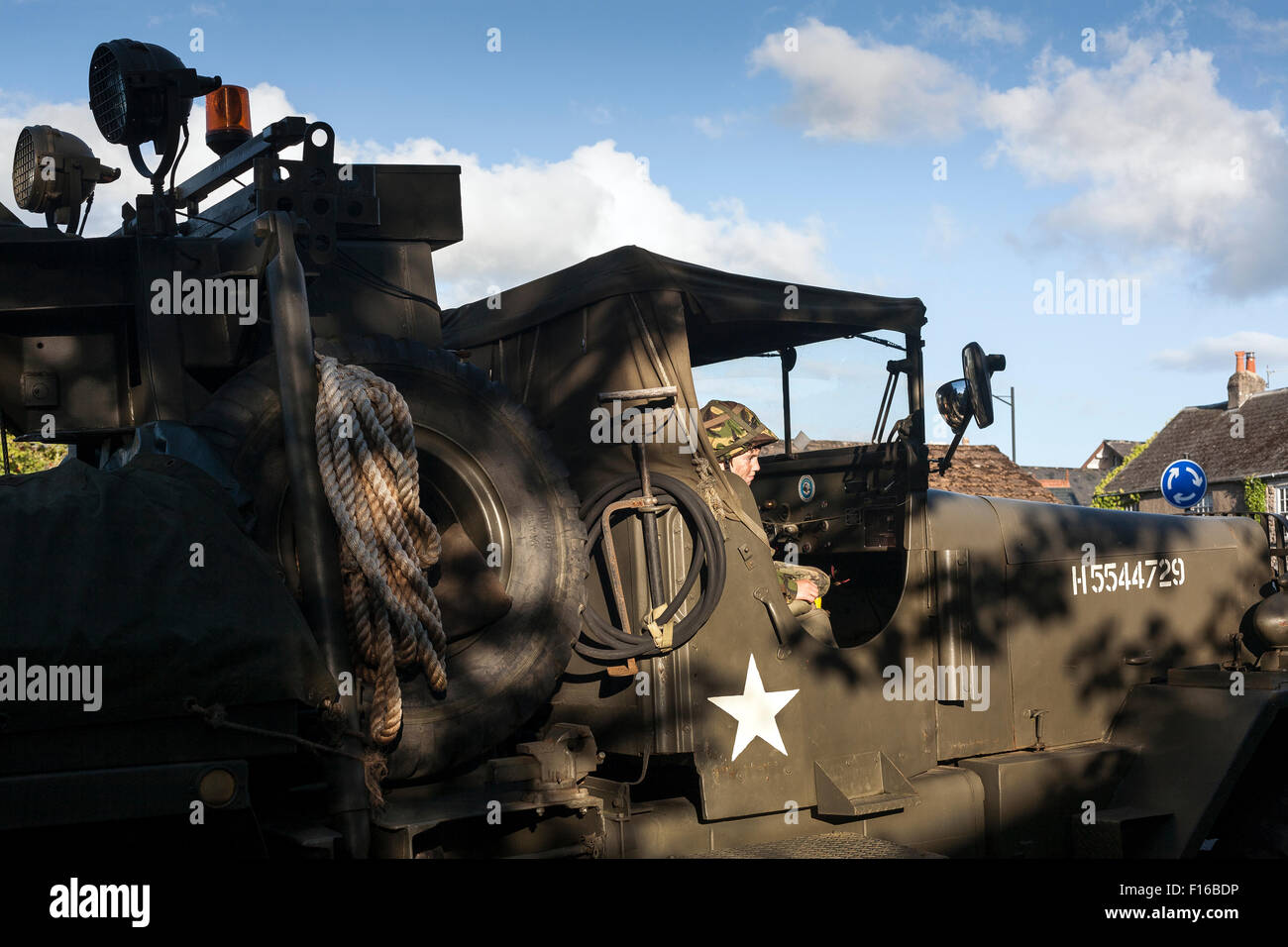 Military parade including American world war two jeep The Willys MB and the Ford GPW are four-wheel drive utility - Stock Image