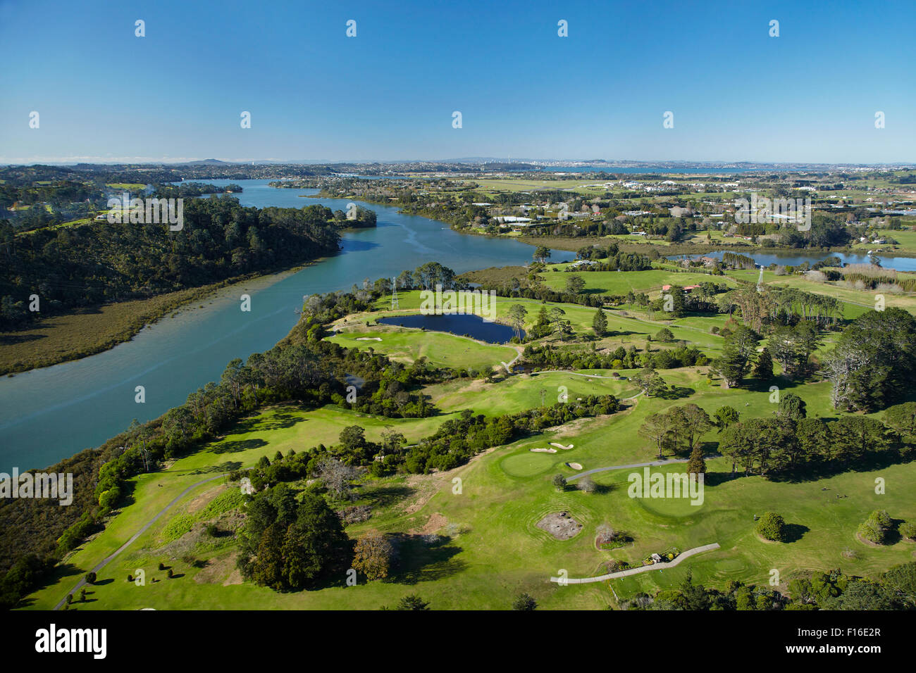 Rangitopuni Creek, and Huapai Golf Course, Riverhead, Auckland, North Island, New Zealand - aerial - Stock Image