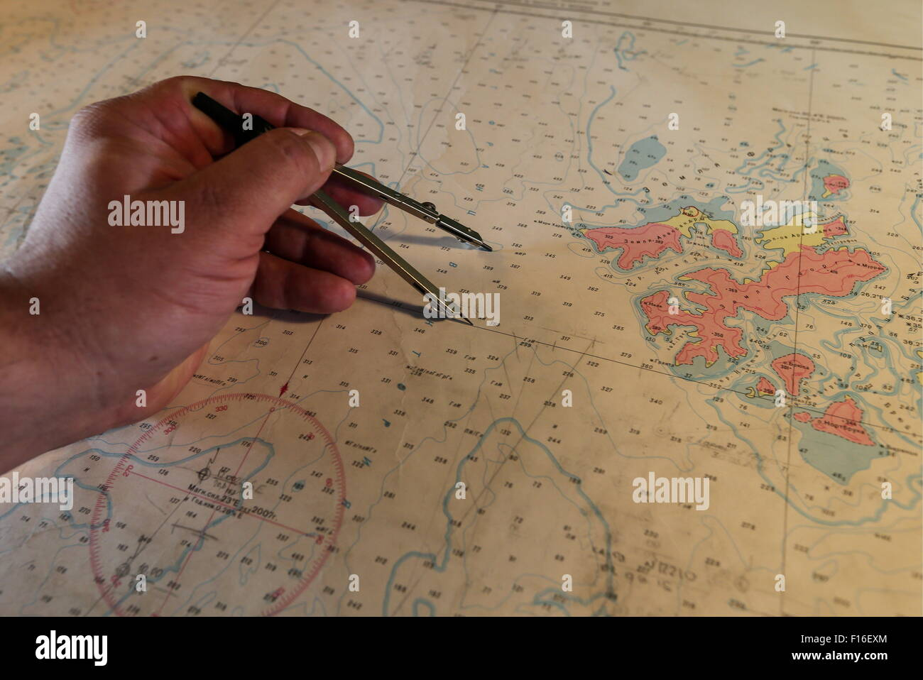 ARCTIC. AUGUST 28, 2015. A navigation map in the control cabin of the Russian icebreaker Kapitan Dranitsyn. Artyom - Stock Image