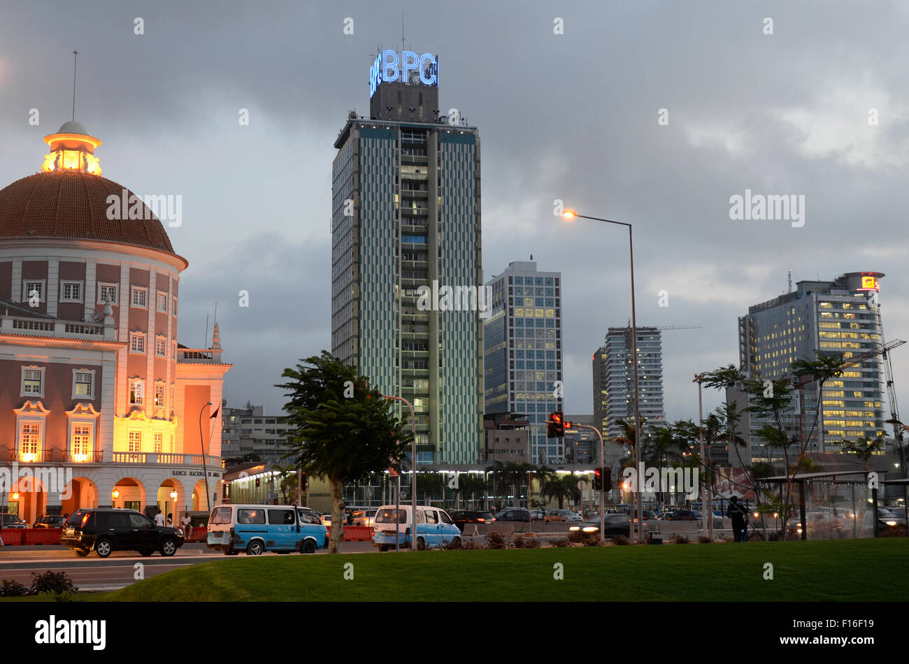 ANGOLA Luanda, National Bank (left) and Sonangol office building, the National Oil Company (right) at sea promenade, - Stock Image